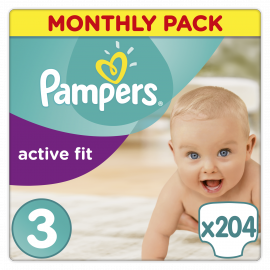 PAMPERS ΠΑΝΕΣ Active Fit Monthly Pack Midi 204 τεμ. Νο 3 (4-9kg)