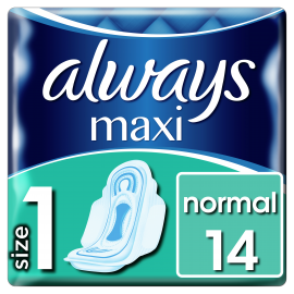 Always Maxi Normal (Μέγ.1) Σερβιέτες Με Φτερά, 14 Τμχ, Πλαϊνά Κατά Των Διαρροών, Προστασία Και Άνεση, Ατομική Συσκευασία