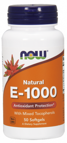 Now Foods E 1000 IU, Mixed Tocopherols / Unesterified, 50 Μαλακές Κάψουλες