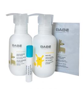 Babe Baby Travel Time Kit Pediatric Moisturising Body Milk 100ml + Pediatric Bath Gel 100ml + Pediatric Nappy Rash Cream 3ml + Pediatric Eau De Colonia 2ml