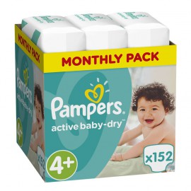 Pampers Active Baby-Dry No.4+ (9-18Kg) 152 Πάνες