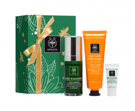 Apivita Face Radiance Gift Set - Bee Radiant Age Defense Illuminating Serum with Orange Stem Cells & Vitamin C 30ml + Radiance Face Mask with Orange 50ml + Bee Radiant Age Defense Illuminating Cream Light Texture with Orange Stem Cells 5ml