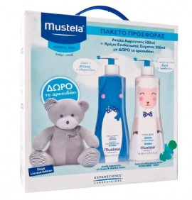 MUSTELA GENTLE CLEANSING GEL LIMITED EDITION 500ML + MUSTELA HYDRA BEBE BODY LOTION LIMITED EDITION 500ML + ΔΩΡΟ ΑΡΚΟΥΔΑΚΙ