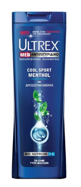 Ultrex Men Αντιπιτυριτιδικό Σαμπουάν για Κάθε Τύπο Μαλλιών Cool Sport Menthol με Δροσιστική Μέντα 360ml