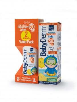 Intermed Value Pack Babyderm Sunscreen Lotion SPF50 Face & Body Παιδικό Αντηλιακό Γαλάκτωμα για Πρόσωπο & Σώμα Υψηλής Προστασίας 2X200ml