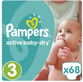 Pampers Active Baby-Dry No.3 (5-9Kg) 68 Πάνες