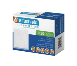 Alfashield 15x30cm Αποστειρωμένες Γαζες 12τμχ