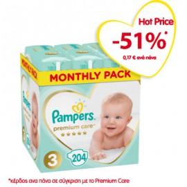 Pampers Premium Care Πάνες Μέγεθος 3 Monthly 6-10kg 204 Πάνες