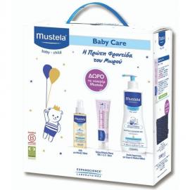 Mustela Set Baby Care Gentle Cleansing Gel 500ml + Κρέμα Αλλάγής Πάνας VBC1-2-3 50ml + Λάδι για Μασάζ 100ml + Δώρο Νεσεσέρ Mustela 1τμχ