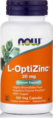 Now Foods L-Οptizinc 30mg 100Capsules