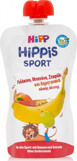 Hipp Hippis Sport Ροδάκινο, Μπανάνα, Σταφύλι & Δημητριακά Ολικής Άλεσης 120gr
