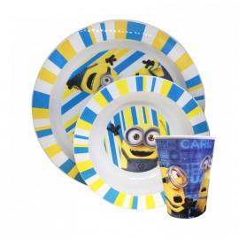 Stor Minions Σετ Βρεφικό Πιάτο + Μπολ & Ποτηράκι 3τμχ