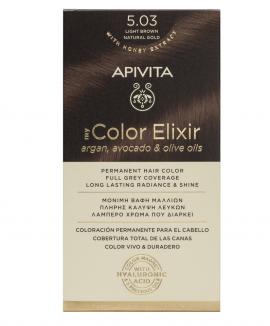 Apivita My Color Elixir kit Μόνιμη Βαφή Μαλλιών 5.03 ΚΑΣΤΑΝΟ ΑΝΟΙΧΤΟ ΦΥΣΙΚΟ ΜΕΛΙ