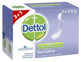 Dettol Soap για Ευαίσθητες Επιδερμίδες 3+1 Δώρο 4X100gr