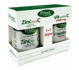 Power Health Set Platinum Range Zinc Plus C 30tabs + Δώρο Platinum Range VitC 1000mg 20tabs