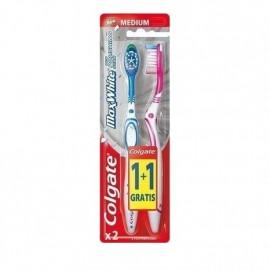 Colgate Max White Medium Οδοντόβουρτσα Ροζ - Πράσινη 1+1 Δώρο 1τμχ