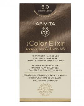 Apivita My Color Elixir kit Μόνιμη Βαφή Μαλλιών 8.0 ΞΑΝΘΟ ΑΝΟΙΧΤΟ