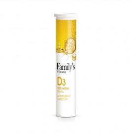 Familys Vitamins Vitamin D3 2000iu 20 Αναβράζοντα Δισκία
