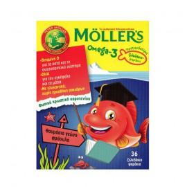 Mollers Omega-3 Kids Ζελεδάκια με Ω3 Λιπαρά Οξέα για Παιδιά με γεύση φράουλα 36gummies