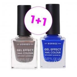 Korres Set Gel Effect Nail Colour 70 Holographic Ash 11ml + Δώρο Gel Effect Nail Colour 86 Ocean Blue 11ml