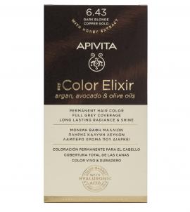 Apivita My Color Elixir kit Μόνιμη Βαφή Μαλλιών 6.43 ΞΑΝΘΟ ΣΚΟΥΡΟ ΧΑΛΚΙΝΟ ΜΕΛΙ