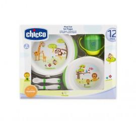 CHICCO Σετ Φαγητού (Πιατα+Ποτηρι+Κουταλια) 12M+