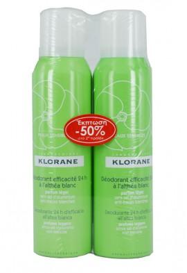 Klorane Deodorant Efficacite 24h Αποσμητικό Spray 24ωρης Κάλυψης με Λευκή Αλθέα PROMO ΤΟ 2ο ΠΡΟΪΟΝ -50%, 2 x 125ml