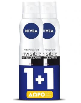 Nivea Black & White Invisible Silky Smooth Spray 150ml 1+1 Δώρο