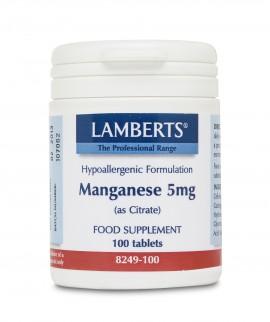 LAMBERTS MANGANESE 5MG AMINO ACID CHELATE 100TABS