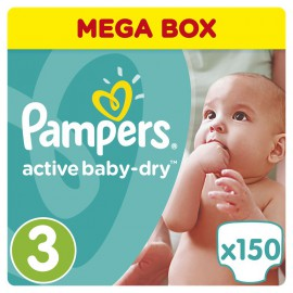 Pampers Active Baby-Dry No.3 (5-9Kg) 150 Πάνες